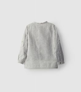 Camicia in lino stile tunica con collo alla coreana bottoni in madreperla.