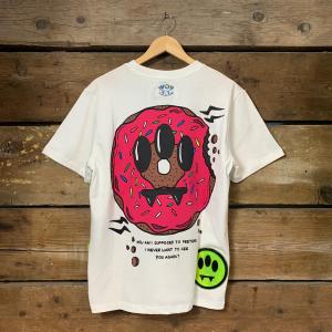 Maglia Barrow Unisex Jersey a Mezze Maniche Bianca con Stampa Donuts Sul Retro