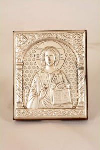 Icona lamina argento Cristo Pantocratore cm 6x7