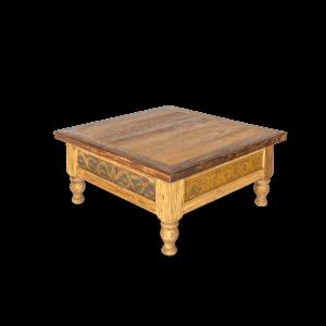 Tavolino da salotto quadrato in legno di teak recuperato