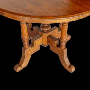 Tavolo rotondo in legno di teak antico indonesiano