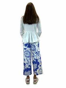 VERY SIMPLE PANTALONE COTONE STAMPATO CROPPED