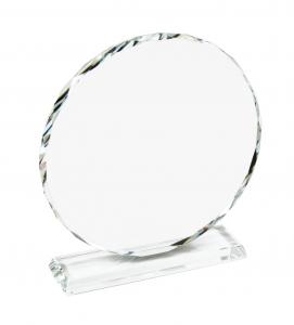 Trofeo tondo in vetro con bordo lavorato