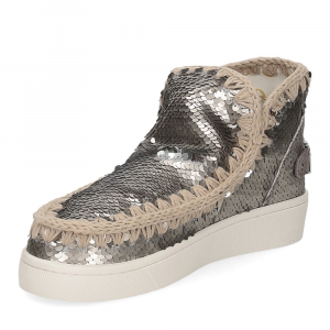 Mou summer eskimo sneaker all sequins big metallic logo gunmetal-4