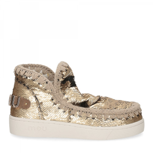 Mou summer eskimo sneaker all sequins big metallic logo gold-2