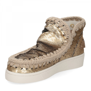 Mou summer eskimo sneaker all sequins big metallic logo gold-4