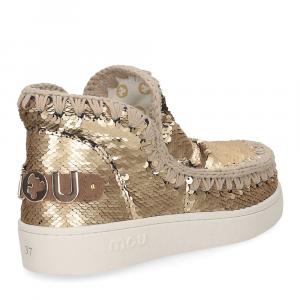 Mou summer eskimo sneaker all sequins big metallic logo gold-5