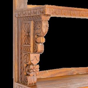 Libreria indiana in legno massello di teak con recupero portali templi