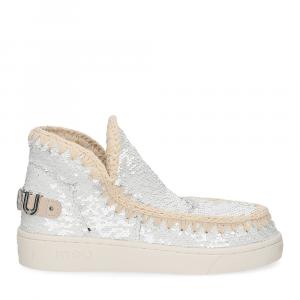 Mou summer eskimo sneaker all sequins big metallic logo white silver-2