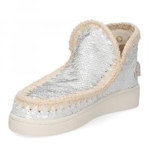 Mou summer eskimo sneaker all sequins big metallic logo white silver-4
