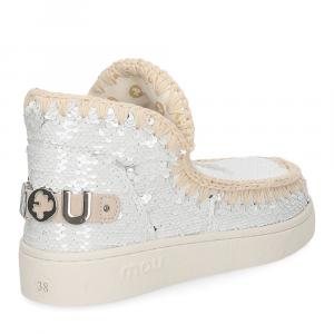 Mou summer eskimo sneaker all sequins big metallic logo white silver-5