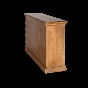 Credenza bassa in legno di palissandro indiano con ante recuperate color turchese