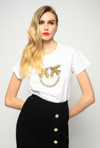 SHOPPING ON LINE PINKO T-SHIRT RICAMO LOVE BIRDS QUENTIN 1 NEW COLLECTION WOMEN'S SPRING SUMMER 2021