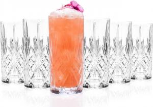 Set 6 bicchieri bibita in vetro, CL 36, vintage, Melodia cm.15h diam.7