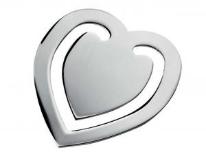 Segnalibro a forma di cuore in acciaio cm.4,7x4x0,2h