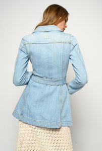 SHOPPING ON LINE GIACCA A CAMICIA IN DENIM CON FIBBIA LOGO LOGAN NEW COLLECTION WOMEN'S SPRING SUMMER 2021