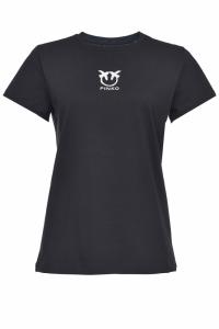 T-shirt Bussolotto logo love birds nera Pinko