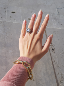 Anello in acciaio oro con cristallo rosa Rush