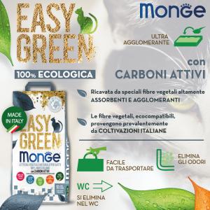 Monge - Easy Green - 100% Mais e Carboni Attivi - Lettiera vegetale e agglomerante - 10 lt - in OMAGGIO l'esclusiva paletta Monge