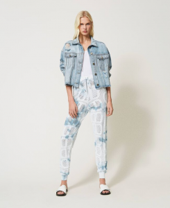 SHOPPING ON LINE TWINSET MILANO GIACCA IN JEANS CON FRANGE DI COSTONI NEW COLLECTION WOMEN'S SPRING SUMMER 2021