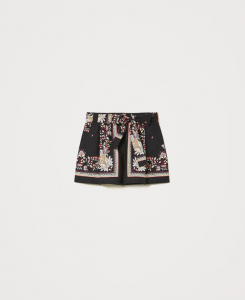 SHOPPING ON LINE TWINSET MILANO SHORTS IN POPELINE STAMOA FOULARD NEW COLLECTION WOMEN'S SPRING SUMMER 2021