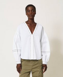 SHOPPING ON LINE TWINSET MILANO BLUSA IN POPELINE CON BORCHIE NEW COLLECTION WOMEN'S SPRING SUMMER 2021