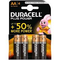 Batterie Duracell AA Stilo 1,5V Plus Power confezione da 4 pile Alcaline