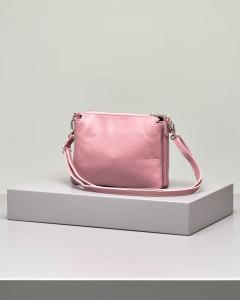 Borsa modello trio in pelle color rosa antico con gancio a mano e tracolla staccabile