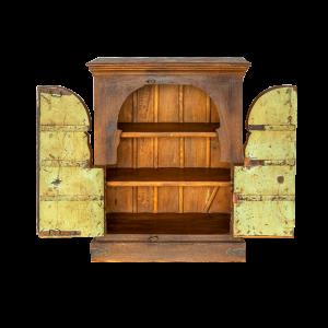 Credenza / Armadietto in legno di recupero con ante forziere in teak