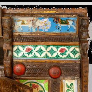 Baule nuziale / Credenza in legno di teak con mattonelle in ceramica