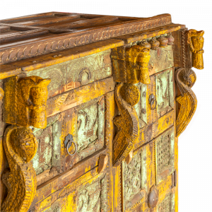 Baule nuziale / Credenza in legno di teak intagliato a mano
