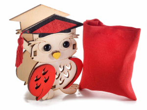 Gufetto Laurea in legno con sacchetto rosso