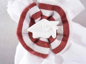Sacchetto cotone stampato con fiocco gesso laurea e tirante