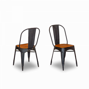 Sedia in ferro con seduta in legno di teak