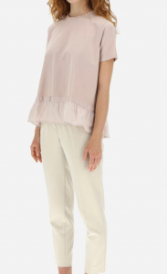 T-Shirt chic cotton jersey con fondo taffetà