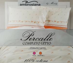 AMBROSIANA. Completo letto MAXI, Lenzuola 100% Percalle Cotone 4053 Matrimoniale