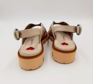 Sandalo in pelle beige incrociata Le Petite Maison