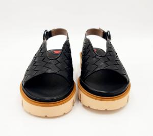 Sandalo in pelle nera incrociata Le Petite Maison