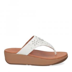 Fitflop Mya Floral stud toe thongs urban white-2