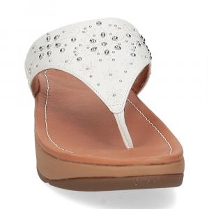 Fitflop Mya Floral stud toe thongs urban white-3