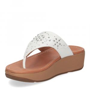Fitflop Mya Floral stud toe thongs urban white-4