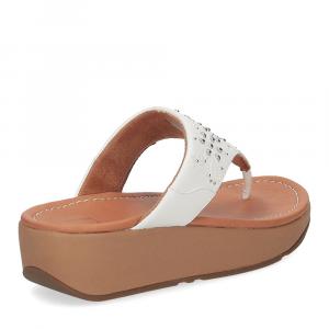 Fitflop Mya Floral stud toe thongs urban white-5