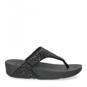 Fitflop Lulu glitter toe thongs black-2