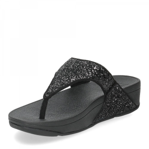 Fitflop Lulu glitter toe thongs black-4
