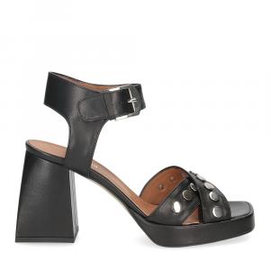 Il Laccio sandalo A1208 in pelle nera-2