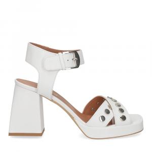 Il Laccio sandalo A1208 in pelle bianco-2