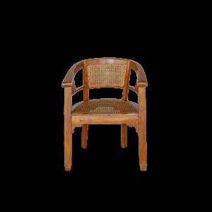 Poltrona antica in legno di teak balinese con seduta e schienale lavorazione rattan naturale