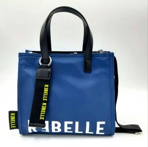 Shopping piccola blu elettrico in nylon e pelle REBELLE