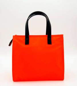 Shopping piccola arancione in nylon e pelle REBELLE
