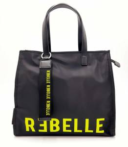 Shopping nera in nylon e pelle REBELLE